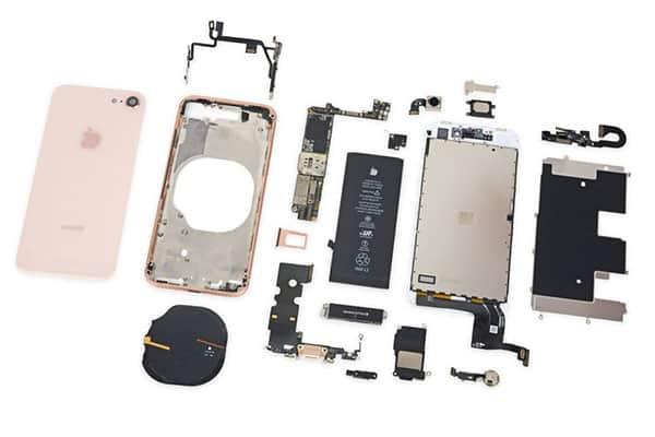 Các linh kiện khi tháo thay pin iphone 8 plus